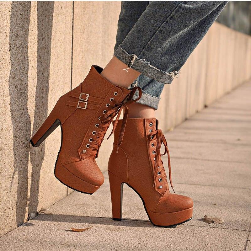 Ботильоны размера плюс, женская обувь на платформе и высоком каблуке, женская обувь на шнуровке, женские короткие ботинки с пряжкой, женская...