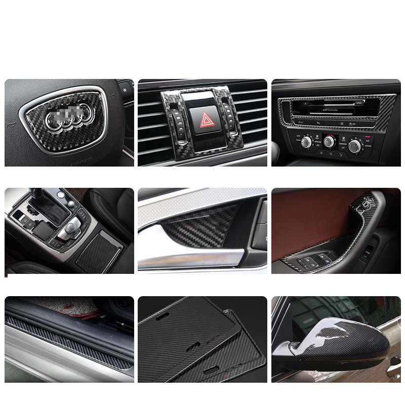 Lsrtw2017 Carbon Fiber Abs Car Interior Steering Wheel Logo Panel Rearview Cover Central Control Panel for Audi A6