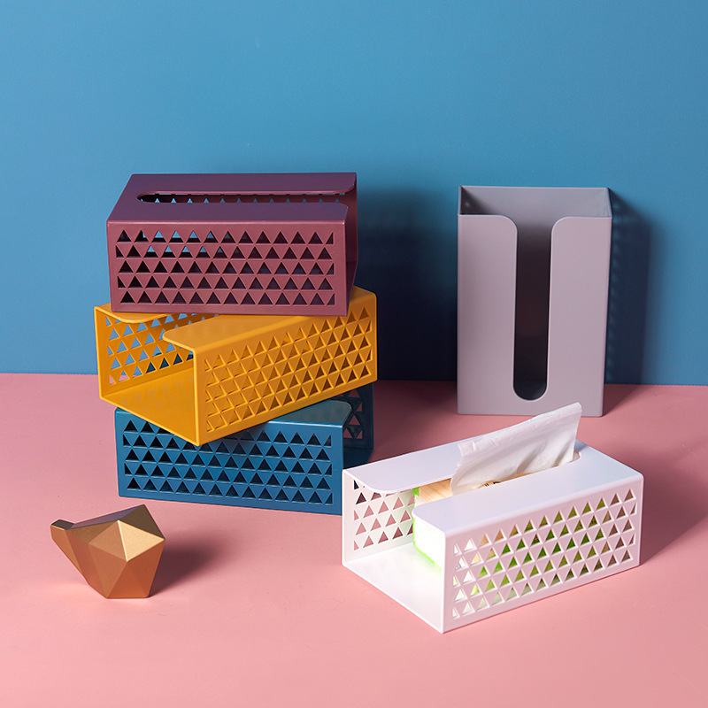 Kitchen Tissue Box Hole-free Paste Wall Hanging Tissue Holder Living Room Toilet Storage Box Storage Bag