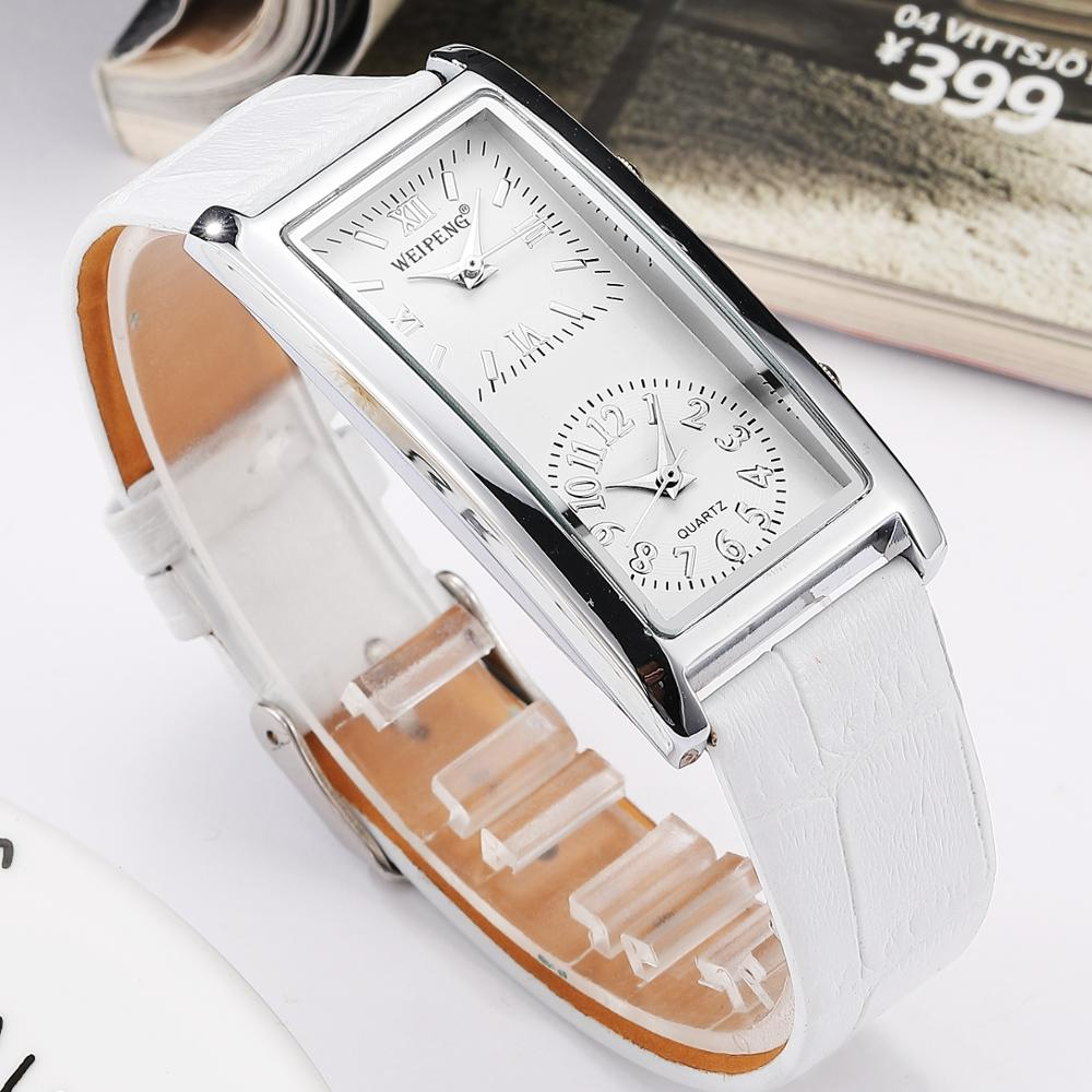 Ladies Minimalist  Watch 2 Double Dial Time Zone Womens Fashion Elegant Wristwatch Quartz Clock Leather Strap Relogio Feminino