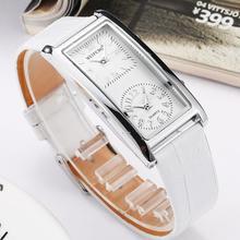 Panie prosty zegarek 2 podwójne pokrętło strefa czasowa moda damska elegancki zegarek kwarcowy skórzany pasek do zegarka Relogio Feminino