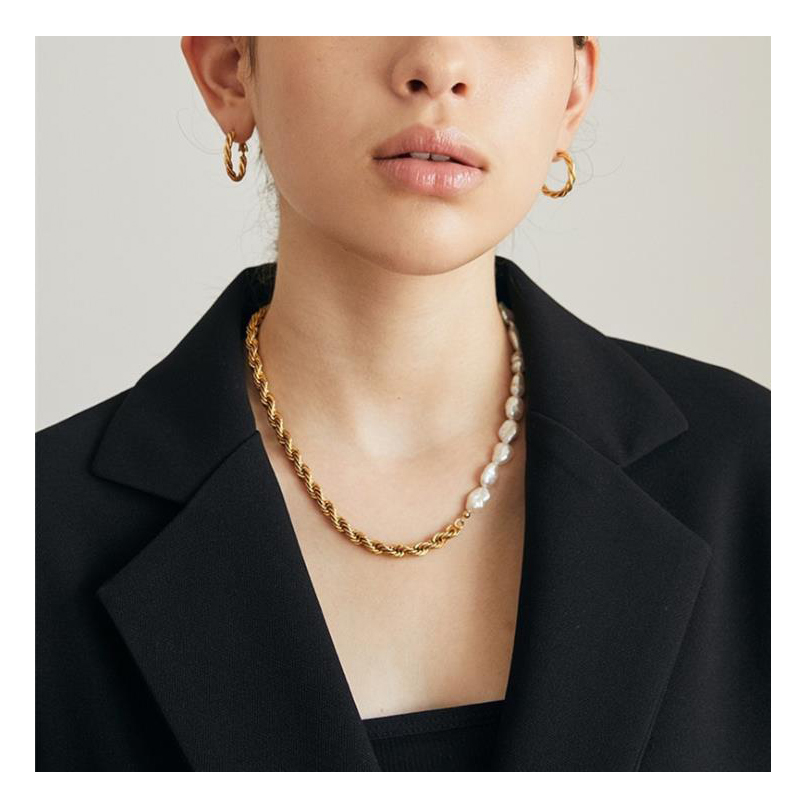 Yhpup Waterproof 316 Stainless Steel Natural Pearl Necklace New Luxury Chain Collar Necklace 18 K Metal Gold Jewelry 2021 Women