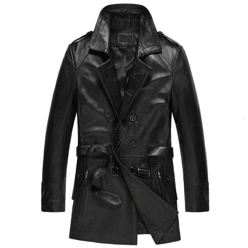 Men's Leather Jacket Genuine Goatskin Coat Autumn Winter Jacket Men Streetwear Windbreaker Long Coats Chaqueta Hombre MY1600