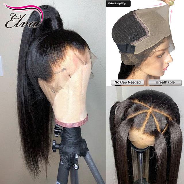 Elva שיער 370 תחרה פרונטאלית פאה מראש קטף מזויף קרקפת פאה ישר 13x6 תחרה מול שיער טבעי פאות עבור שחור נשים רמי שיער פאה