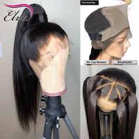Elva pelo 370 pelo peluca Frontal de encaje Pre arrancado falso cuero cabelludo peluca recta 13x6 frente de encaje pelucas de cabello humano para las mujeres negras Peluca de pelo Remy