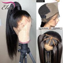 Elva saç 370 dantel Frontal peruk ön koparıp sahte kafa derisi peruk düz 13x6 dantel ön İnsan saç peruk siyah kadınlar için Remy saç peruk