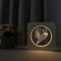 Schnecken Hexapod 3D LED Arylic Holz Nacht Lampe Tisch Licht Switch Control Carving Lampe für Kinderzimmer Dekoration Deal geschenk|LED-Nachtlichter|   -