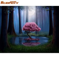 Ruopoty рамка DIY Краска ing по номерам пейзаж лес розовое дерево акриловая краска по номерам для взрослых стены Искусство Pictur домашний декор