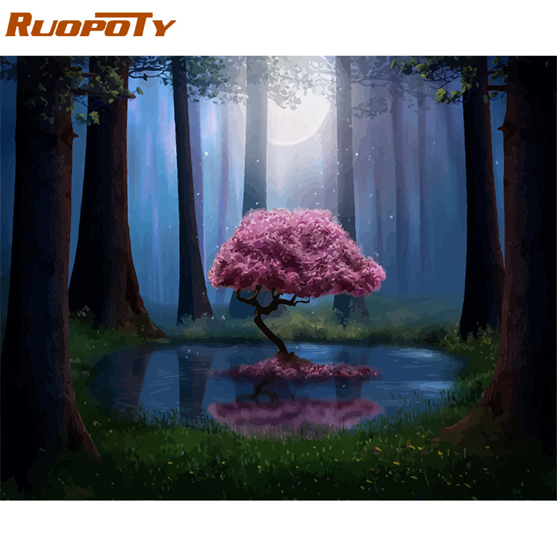 RUOPOTY Frame DIY Painting By Numbers Landscape Forest Pink Tree Acrylic Paint By Numbers For Adult Wall Art Pictur Home Decors