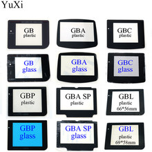 12 modelleri plastik cam ekran Lens için Gameboy GB GBA SP GBC GBL GBP Lens koruyucu W/yapıştırıcı yedek onarım parçaları
