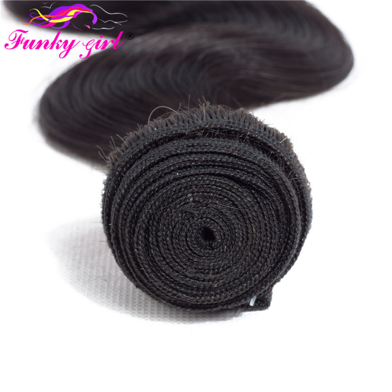 H1fd35c3c04d34952990e4ba41df7285ca Funky Girl 3/4 bundles with frontal Peruvian Body Wave Human Hair Lace Frontal Closure With Bundles Non Remy Frontal With Bundle