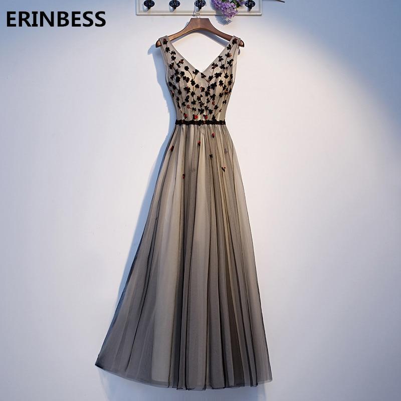 2020 a-ligne robes formelles longues robes De bal col en v Tulle avec fleurs robes De fête Robe De bal à lacets dos Robe De soirée