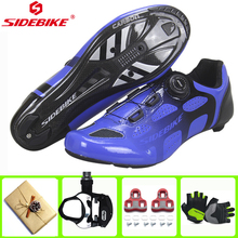 SIDEBIKE Road Bike Cycling Shoes Carbon Fiber Outdoor Anti-skid Wear resistant Bicycle Lock Shoes Men Road sports Cycling Shoes