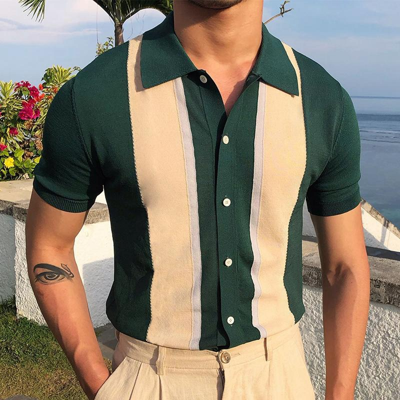 2021Fashion Business Male Turn-Down Shirts Summer Striped Slim Tops Pullover Men Casual Button Design Short Sleeve Polo Shirts