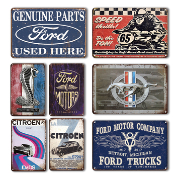 Ford Mustang Citroen Retro Metal Poster Vintage Car Painting Home Garage Wall Decorative Plates Old Signs Decor