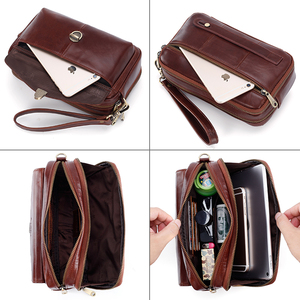 Image 5 - Brand Original Genuine Leather Mens Clutch HandBags Mens Wrist Long Wallet Money Cards Mobile Purse For Women Large Capacity