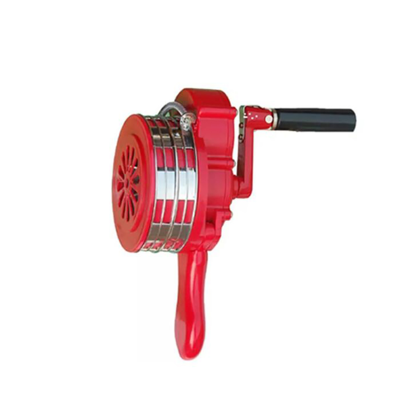 Manual Operated Security Alarm Hand Crank Plastic Shell, Handheld Air Raid Siren Portable Loud Safety Emergency Siren, Red