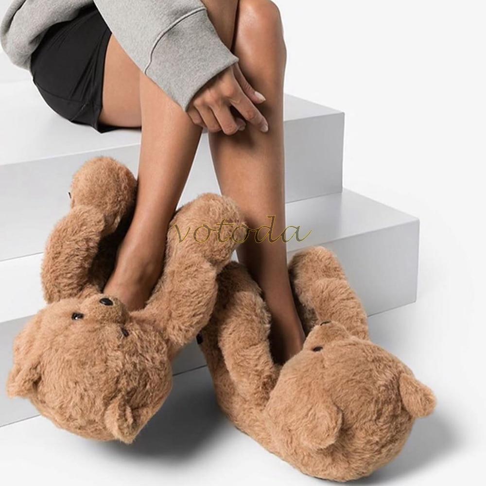 Teddy Bear Slippers Women Home Indoor Soft Cute Slipper Winter Warm Shoe Cartoon