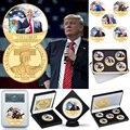 WR Donald Trump 2020 Gold Überzogene Münze Sammlerstücke mit Münze Halter USA Präsident Original Münze Set Geschenke für Mann Dropshipping