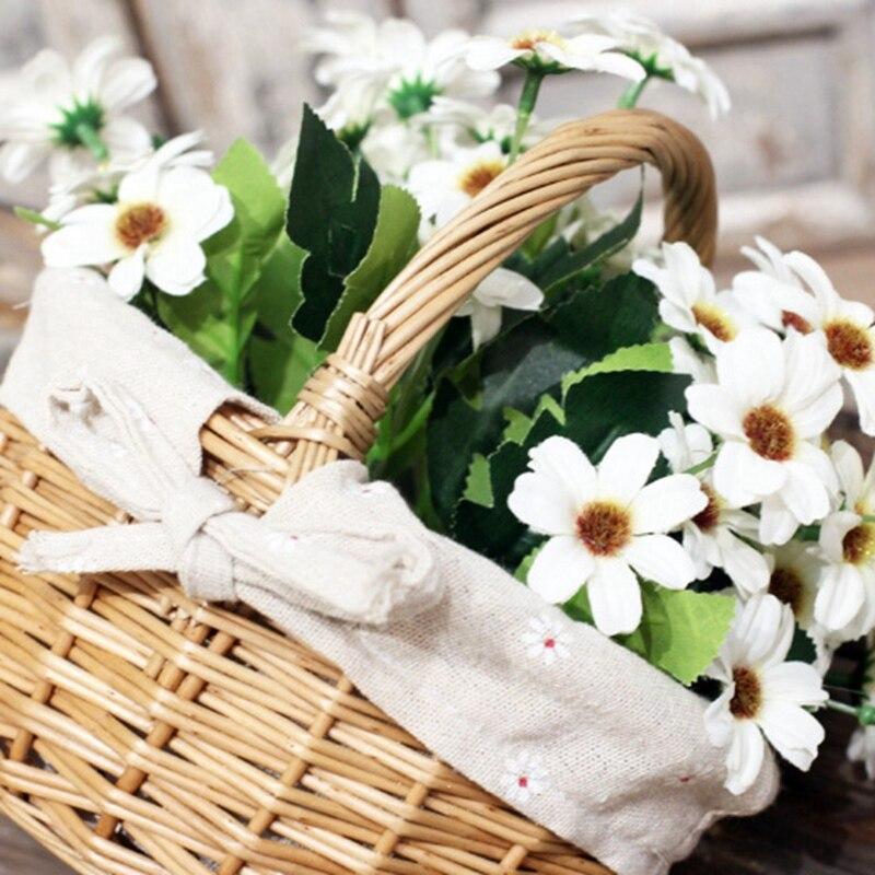 Hand-Woven Grocery Storage Basket Wicker Basket Simulation Flower Basket Small Flower Basket With Hand Gift Basket