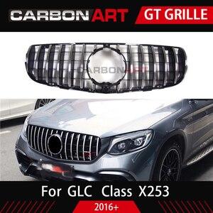 Image 3 - GLC X253 AMG style Front Racing Mesh Grill for MB X253 GLC200 GLC250 GLC300 GlC450 Sport Version Silver 2016+