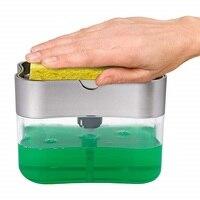 2 in 1 Schwamm Rack Seife Dispenser Doppel Schicht Seife Pumpe Schwamm Caddy Bad Küche Organizer Haushalts Reinigung zubehör|Reinigungsbürsten|   -