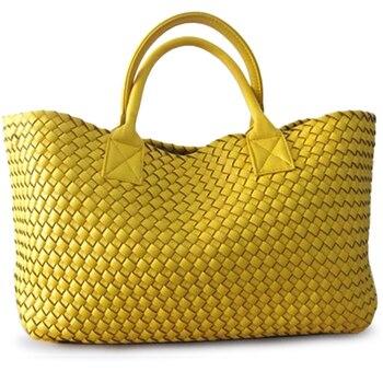 Fashion Luxury Premium Faux Leather Women Handbags Handmade Woven Tote Bags Female Vintage Shoulder Bag Large Big Messenger Bags