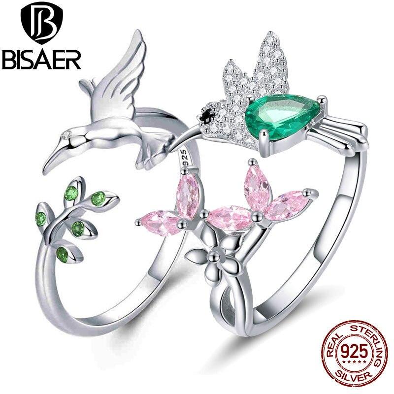 Женское кольцо с регулируемым пальцем BISAER, 925 пробы, Серебряная птица, колибри, подарок на Рождество, GXR323|Кольца|   | АлиЭкспресс