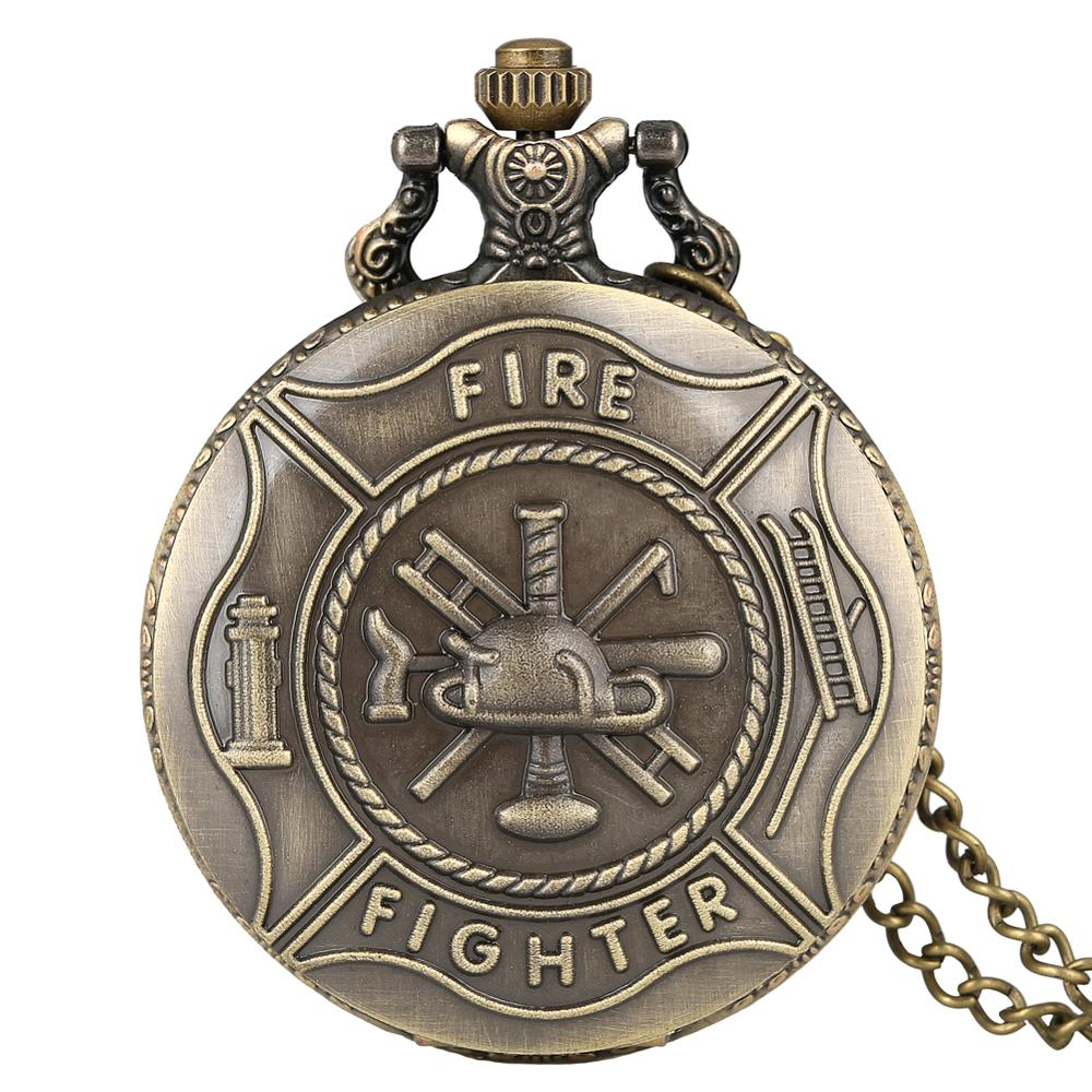Retro Bronze Fire Fighter Control Quartz Vintage Pocket Watch Children Pendant With Necklace Chain Best Gift For Men Women