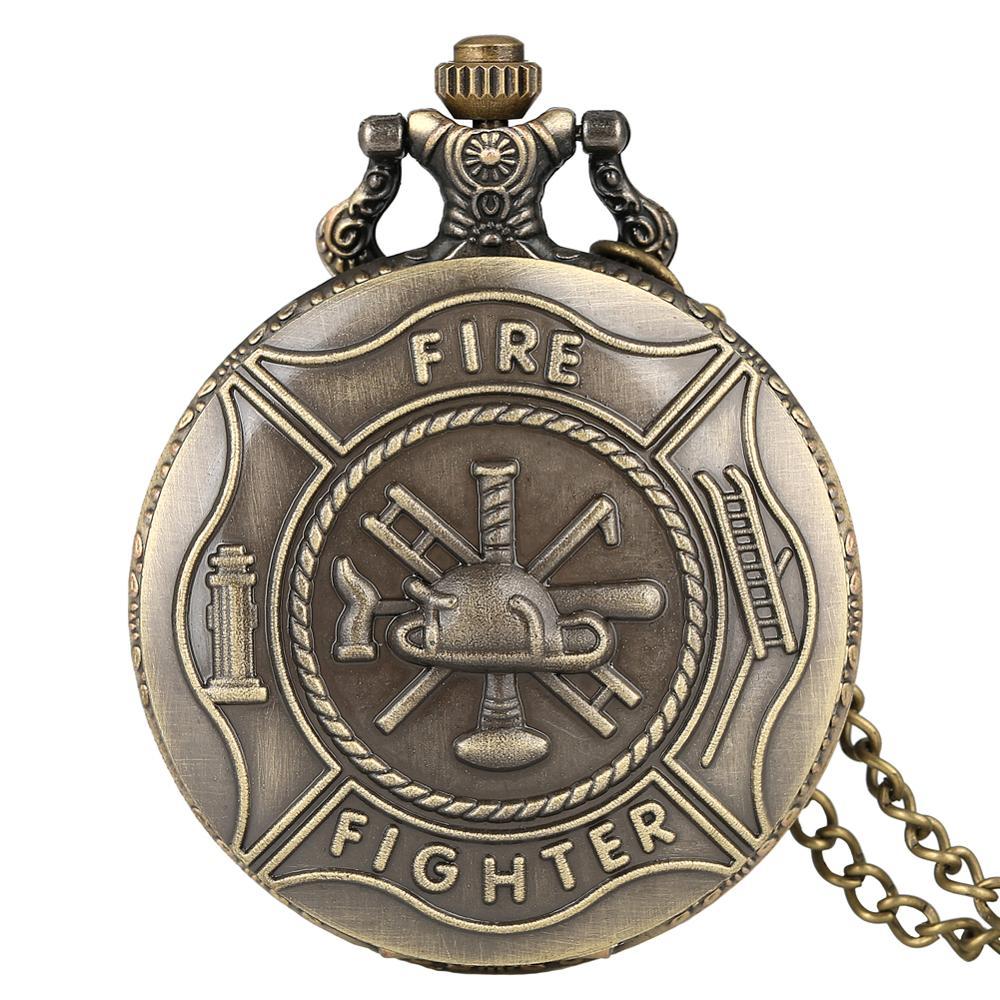 Retro Bronze Fire Fighter Control Quartz Vintage Pocket Watch Children Pendant With Necklace Chain Best Gift For Men Women