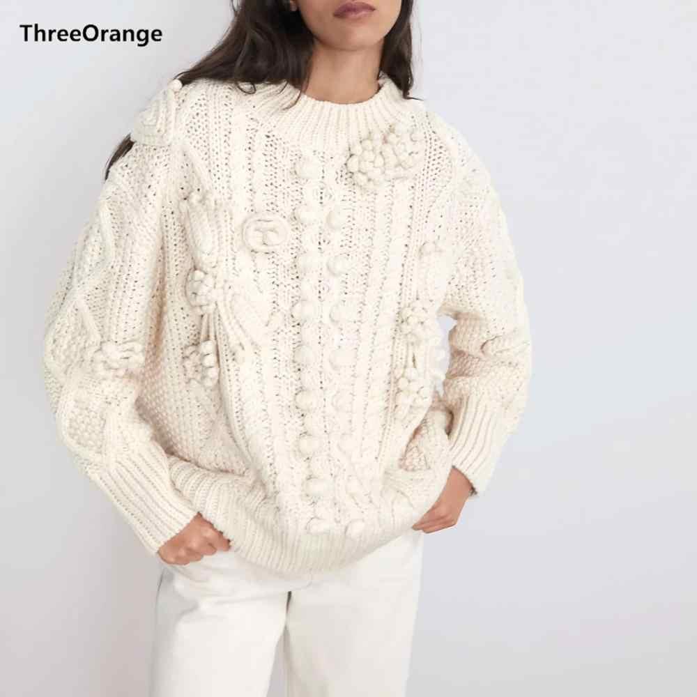 ZA 2019 ฤดูหนาวฤดูใบไม้ร่วงใหม่สีขาวถักเสื้อกันหนาวผู้หญิง pullover Casual หลวมเสื้อกันหนาวจัมเปอร์เสื้อผ้า JERSEY