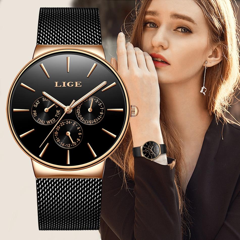 LIGE Women Watches Top Luxury Brand Ladies Fashion Simple Quartz Female Waterproof Watch Lady Casual Clock Relogio Feminino+BoxWomens Watches   -