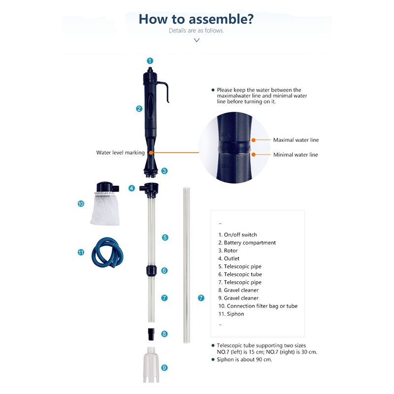Vacuum Fish Siphon Tank Water Aquarium Battery Filter Clean Siphon Filter Fish Aquarium Tools Gravel Set Pipe Cleaner Pump in Cleaning Tools from Home Garden
