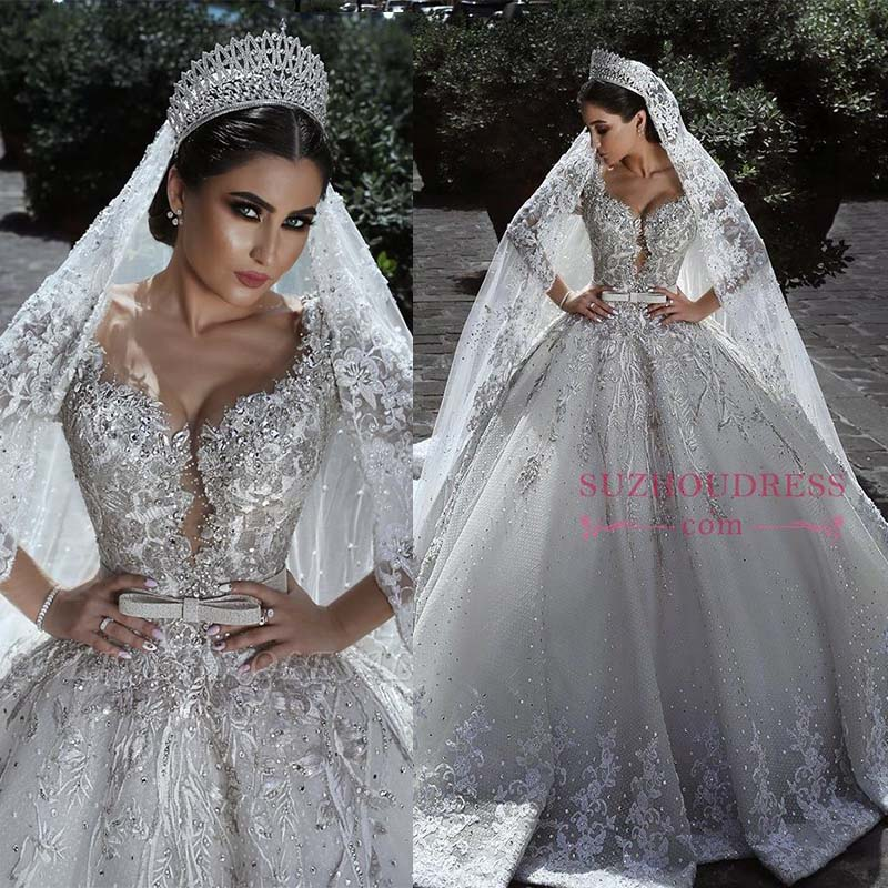 Dubai Luxury Beading Wedding Dress Long Sleeve V-Neck Ball Gown Bridal Dress Lace Appliques Wedding Gown With Belt