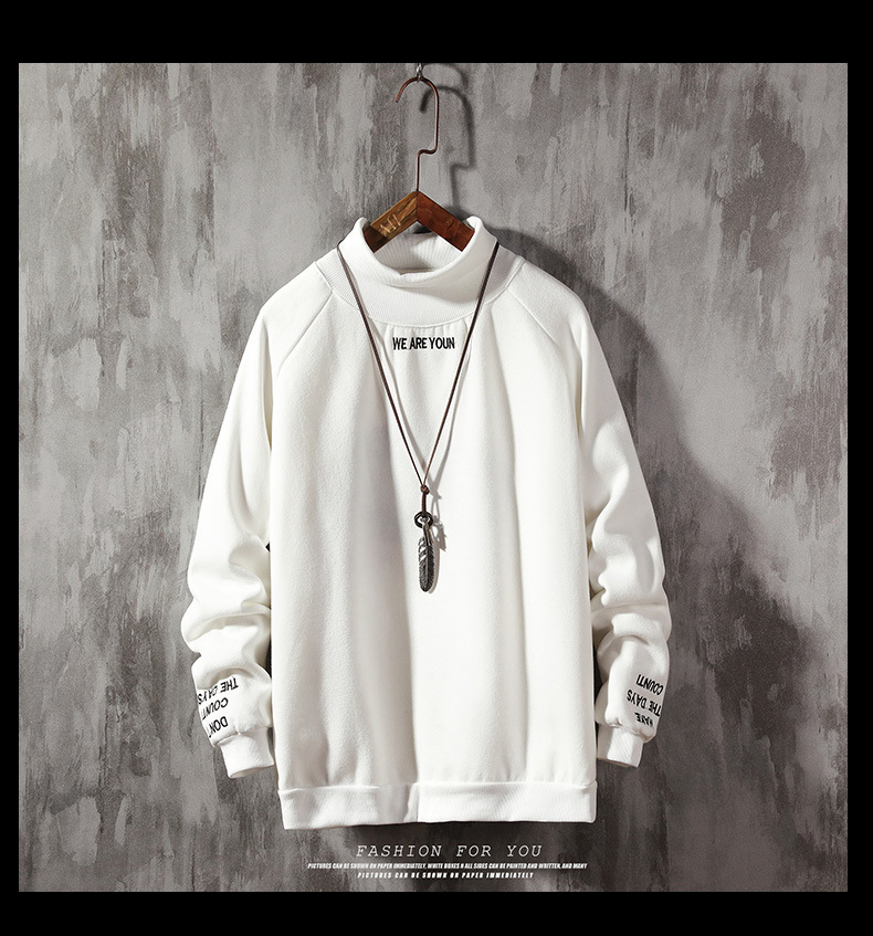 2019 Winter High Quality Warm Woolen Lining Men Stand Collar Sweatshirts For Men 2 Colors Size S To 2XL J9540-3156-E