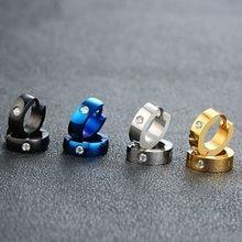 Vnox Grundlegende Edelstahl Hoop Ohrringe für Männer Frauen Unisex Huggie Ohrringe mit CZ Stein Zubehör
