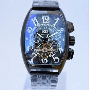 Image 2 - トゥールビヨン腕時計メンズスケルトン自動機械式メンズ腕時計トップブランドの高級軍スポーツウォッチステンレス鋼男性時計