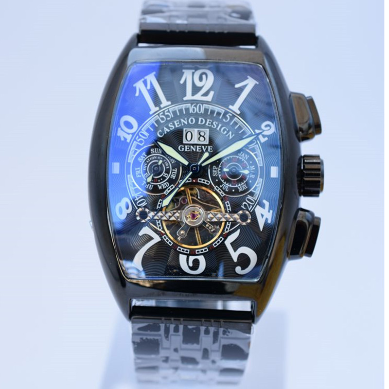 Image 2 - Tourbillon Watch Mens Skeleton Automatic Mechanical Men Watches  Top Brand Luxury Military Sport Watch Stainless Steel Male  ClockMechanical Watches