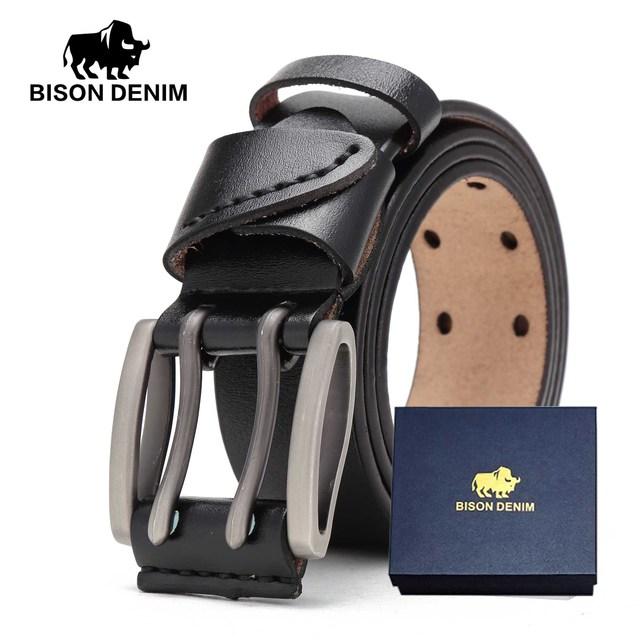 Bison denim novo cinto masculino de couro genuíno cintos vintage fivela cinto de couro para homens natal presente de ano novo n71247