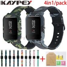 4in1 pour Amazfit Bip sangle 20mm Bracelet de montre Camouflage Silicone Bracelet pour Xiaomi Amazfit Bip Bit jeunesse housse accessoires
