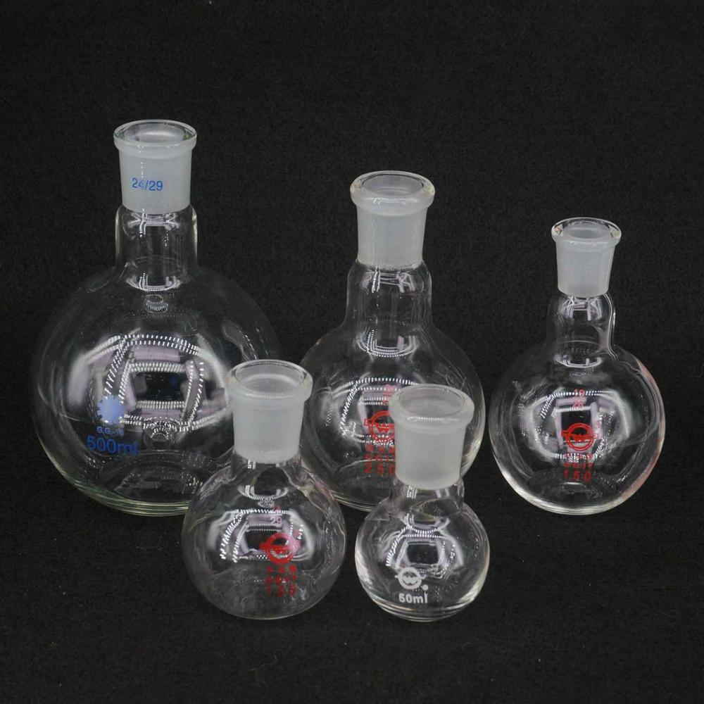 50/100/150/250/500ml Borosilicate Glass One Mouth Short Neck Flat Bottom Flask Boiling For Laboratory