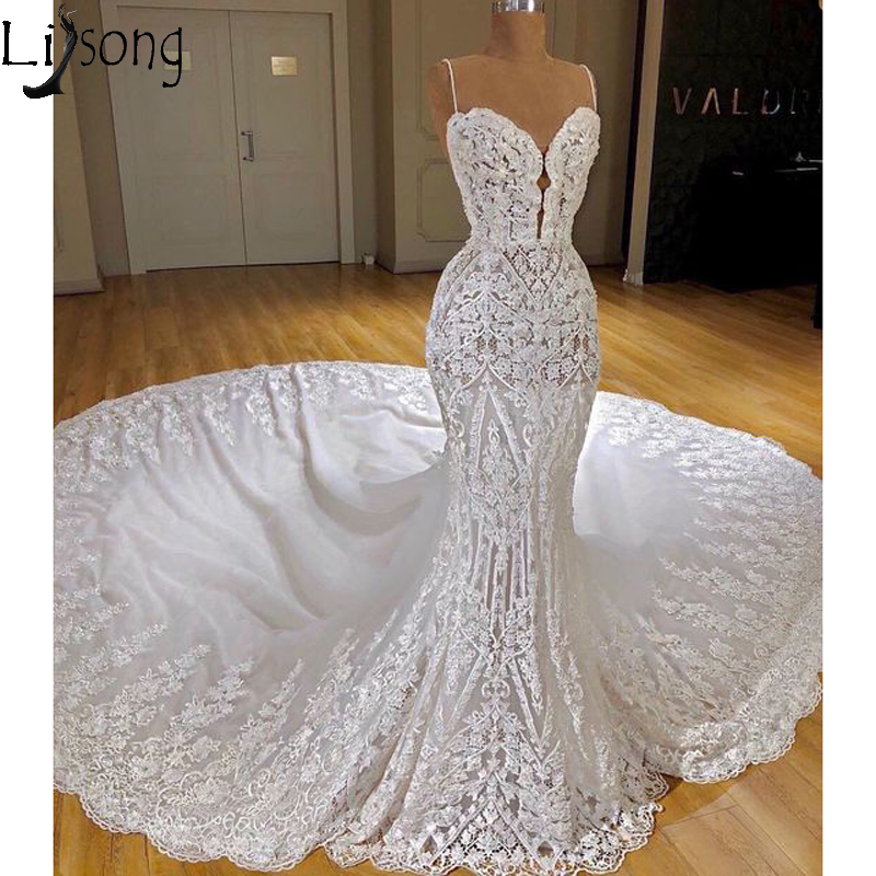 Vestido De Noiva 2019 Lace Mermaid Wedding Dress Spaghetti Straps Luxury Court Train Bridal Wedding Gowns Custom Robe De Mariee
