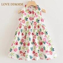 אהבה DD & MM בנות שמלות 2020 חדש בגדי ילדים פרח עגול צוואר נסיכת שמלת ילדים בגדי ילדה