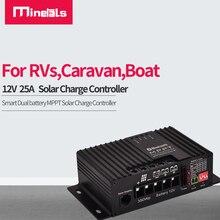 12V 25A kontroler słoneczny do kwasu ołowiowego, AGM, żel LFP4 podwójna bateria MPPT regulator ładowania słonecznego do kamperów, przyczep kempingowych