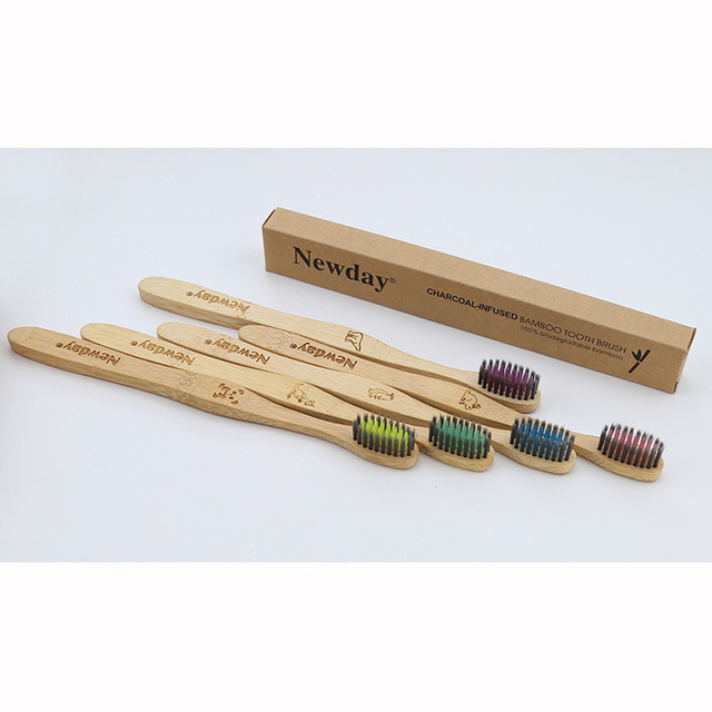 5PCS Eco friendly bamboo toothbrush wooden tooth brush soft-bristle tip charcoal for adults oral care portable 5