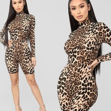 Women Leopard Playsuit Long Sleeve Slim Skinny Rompers Short