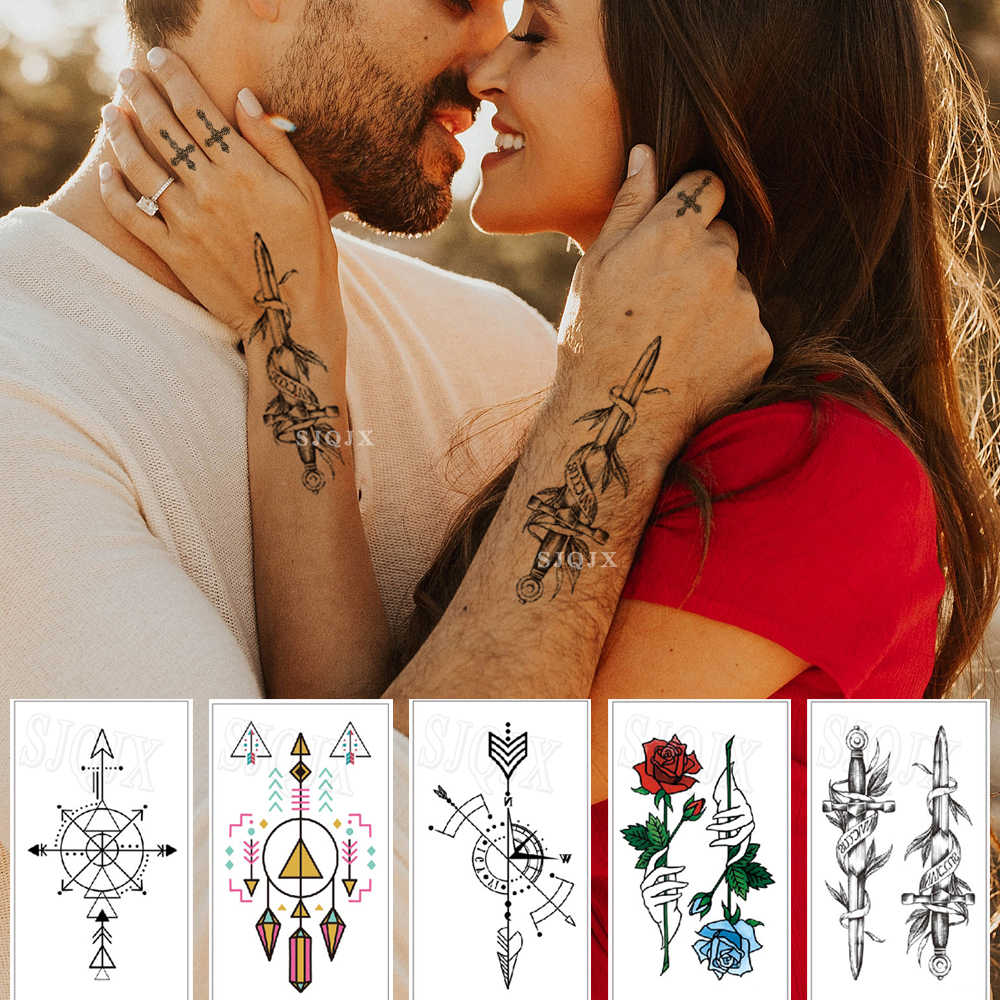 Temporary tattoos sticker flower Tiger whale Waterproof body tattoos Small sticker tattoo for men women Hand neck 60*105mm