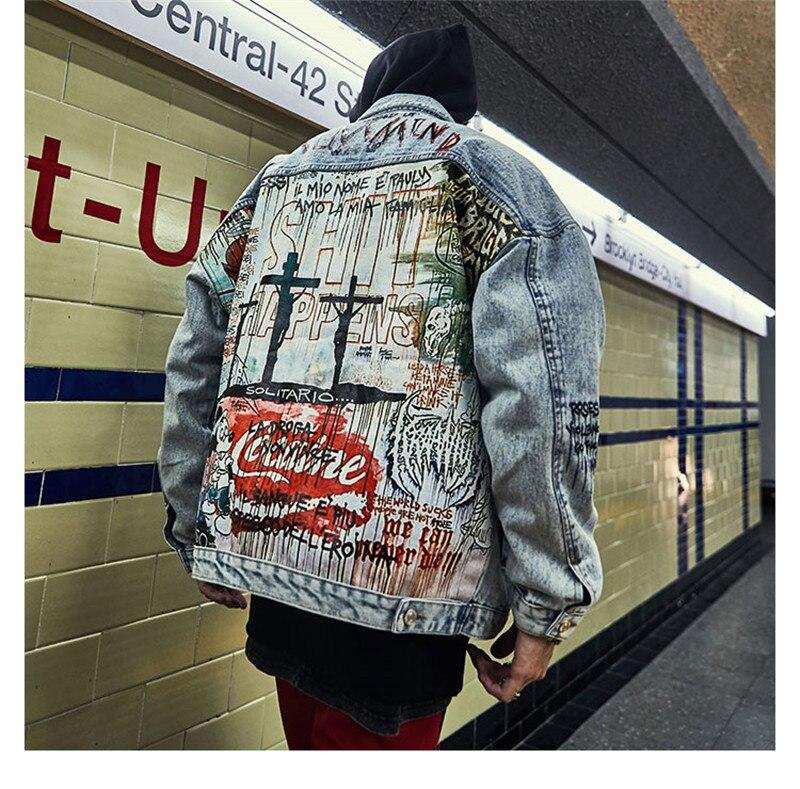 Denim Jacket Men 2019 Cartoon Graffiti Printed Vintage Rapper Streetwear Jeans Jacket Hiphop Style Motorcycle Casual Jacket Coat