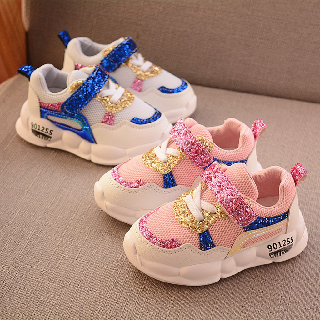 Toddler Kids Baby Girls Boys Sequins Shoes Patchwork Mesh Bling Sport Sneakers Sequins Stitching Mesh Casual Shoes HOOLER