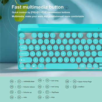 Wireless Retro Keyboard and Mouse kit 77 keys Round keycap Punk Rechargeable Keyboard Mouse Wireless for MAC Office Notebook
